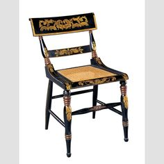"""BALTIMORE CHAIR/ Artist unidentified, possibly Baltimore, United States, c. 1820–1830, paint, gold leaf, and stenciling on wood, 31 1/4 × 20 1/4 × 19 1/2"""", collection American Folk Art Museum, gift of the Historical Society of Early American Decoration: 82.1. Photo credit: John Parnell."""