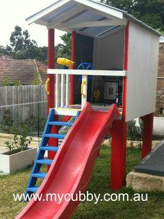 A beautiful little fort that works perfectly in a small backyard.  #Australia #AussieKids #AustralianBackyards #purple #Slide  #Play #BackyardFun #Cubby #cubbyhouse #cubbies #playhouse #PlayIdeas #DIYCubby #DIY #imaginationPlay