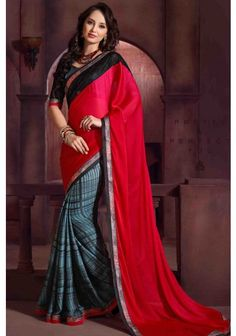 Slate #Gray and Amaranth Pink Faux #Chiffon Embroidered #Festival Saree Sku Code: 97-5672SA231642 US $ 53.00 http://www.sareez.com/sarees/slate-gray-and-amaranth-pink-faux-chiffon-embroidered-festival-saree.html