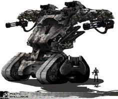 Tracked Terminator Hunter-Killer, used for area pacification and to knock down any standing structures. Operates in synchronicity with VTOL flying Hunter-Killers overhead to provide close air support as well as target acquisition and tracking. Military Robot, Military Weapons, Military Art, Robot Concept Art, Weapon Concept Art, Science Fiction, Army Vehicles, Armored Vehicles, Killzone Shadow Fall