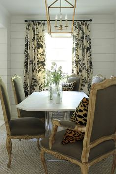 Schumacher Pyne Hollyhock Print Pinch Pleated Drapes Shown In Charcoal Also Comes Indigo Grisaille And Tobacco Dining Room Paneling Elegant
