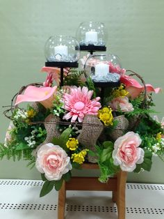 Spring candle arrangement made by Suzanne at Michaels in Whitehall Pa Candle Arrangements, Floral Arrangements, Centerpieces, Table Decorations, Flower Arrangement, Florals, Floral Design, Floral Wreath, Designers
