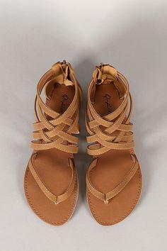 Qupid Athena-566 Strappy Gladiator Thong Flat Sandal