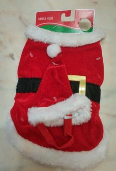 Lot of 6 Santa Suit Dog outfit for small dogs Christmas set hat and suit New