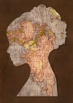 Things you can make with old maps. DIY ideas for old maps. Creative ways to use old maps in crafts and art. Map Crafts, Crafts With Maps, Travel Crafts, Art Carte, Old Maps, Silhouette Art, Mickey Silhouette, Art Plastique, Digital Scrapbook Paper