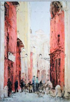 Old City, Oil on Canvas Panel, original painting $60 (in euro) 30 cm x 50 cm