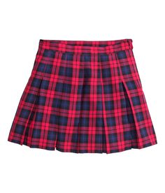 Pleated mini skirt in blue & red plaid. | H&M Divided