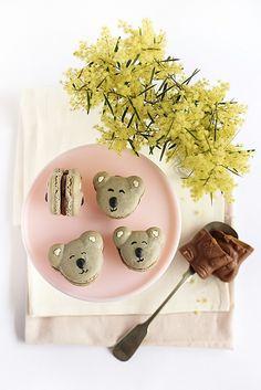 Caramel Koala Macarons by raspberri cupcakes, via Flickr