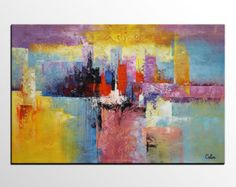 Blue and gold painting on canvas abstract art orange by Andrada