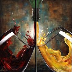 Sounds of Succulence White and Red Wine Art Wine Wall Decor, Wine Wall Art, Wine Art, Pictures To Paint, Art Pictures, Colored Pencil Artwork, Wine Painting, Bright Art, Black Artwork