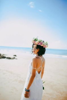 25 Bewitching - Amazing Wedding Photography Ideas : Sensational woman wearing white spaghetti strap dress standing on the seashore during daytime photography Irina Shayk, Flower Crown Wedding, Wedding Flowers, Bridal Dresses, Wedding Gowns, Wedding Speeches, Wedding Attire, Wedding Bells, White Spaghetti Strap Dress
