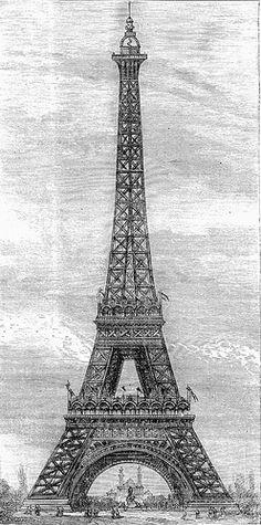Tour Eiffel . Gravure représentant la Tour Eiffel, tour de 300 mètres d'élévation, construite par M. Eiffel à Paris en 1888-1889.