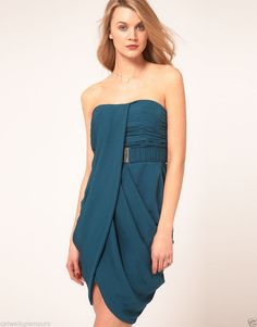 Karen Millen Teal Drape Bandeau Party Ruched N Pin Tuck Pleated Belt Dress #KarenMillen #Corset #Casual