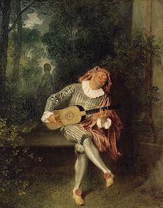 """Jean Antoine Watteau (French, 1684–1721), """"Mezzetin,"""" ca. 1718–20. Oil on canvas, 21 3/4 x 17 in. (55.2 x 43.2 cm). The Metropolitan Museum of Art."""