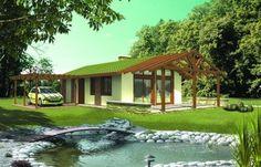 Urozmaiceniem bryły budynku jest ażurowa konstrukcja drewniana nad dużym tarasem