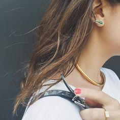 Alison Lou earring + ring // Jennifer Fisher necklace
