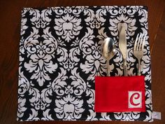 Personalized Place mat with Utensil Pocket: Holiday/Wedding Decor the Perfect Setting in Black White and Red