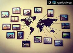 Wall art bedroom diy world maps 20 ideas for 2019 Travel Wall Decor, Map Wall Decor, Wall Maps, World Map Wall Art, Home And Deco, Wall Collage, Diy And Crafts, Gallery Wall, Living Room Designs