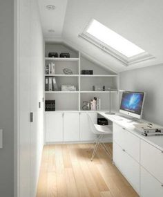 Nice, small, bright white office with skylight window. Nice, small, bright white office with skylight window. Attic Loft, Attic Stairs, Loft Room, Bedroom Loft, Attic Library, Attic House, Attic Ladder, Tiny House, Bedroom Ceiling