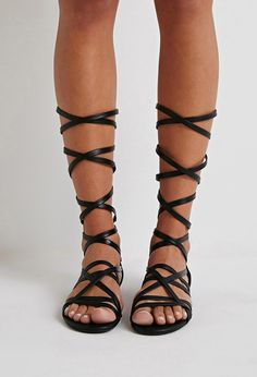 Strappy Mid-Calf Gladiator Sandals | Forever 21 - 2002247996