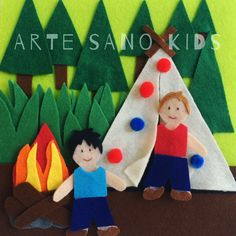 Campamento. Quietbook/Libro sensorial by Arte Sano KIDS. Juguetes sensoriales y educativos hechos a mano. Visita nuestra página de Facebook: Arte Sano KIDS. Instagram: @artesanokids