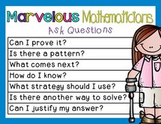 Marvelous Mathematicians {Mini-Posters that Develop Positive Math Behaviors} Classroom Signs, Math Classroom, Kindergarten Math, Teaching Math, Teaching Ideas, Math Charts, Math Anchor Charts, Fun Math, Math Activities