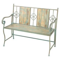 Perfect for your foyer or sunroom, this distressed wood and metal bench showcases scrolling arms and geometric details for elegant appeal. Product: BenchConstruction Material: Wood and metalColor: SageFeatures: Scrolling armsDimensions: H x W x D Garden Furniture, Outdoor Furniture, Three Season Porch, Outdoor Seating, Outdoor Decor, Outdoor Rooms, Outside Living, Joss And Main, How To Distress Wood