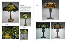 Mosaic Shades Page Spread Mag Tiffany Lamps, Leaded Glass, Glass Art, Mosaic, Dragon, Clock, Shades, Type, Pattern