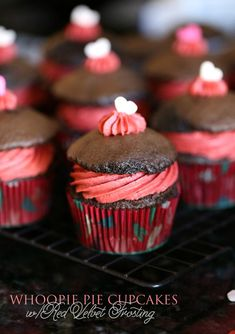 Whoopie Pie Cupcakes with Red Velvet Frosting from @cookiesandcups