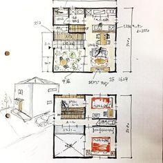 32坪の中庭付き間取りです。 相変わらず収納が少なくてすみません!#間取り#間取り集#中庭のある間取り#32坪の間取り#半屋外空間#土間から中庭#四角い家#箱型の家#2ldk#floorplan#japanese#狭小住宅#中庭付き狭小住宅
