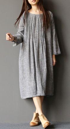 2017 spring light gray linen dresses plus size pleated cotton dress caftans