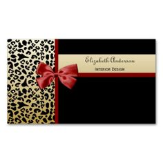 Elegant Interior Design Black and Gold Leopard Business Cards. This great business card design is available for customization. All text style, colors, sizes can be modified to fit your needs. Just click the image to learn more!