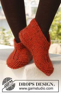drops design slipper patterns knit eskimo | Knitted DROPS slippers in Eskimo. ~ DROPS Design