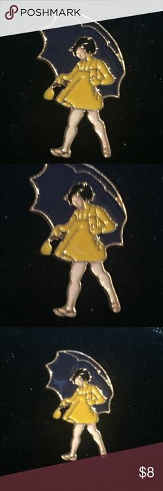 """Emporiama Morton Salt Girl Brooch / Pin, NWT Emporiama Morton Salt Girl Brooch / Pin, NWT  This Brooch/Pin Is A Base Of Gold Tone Metal, Set With Blue, Yellow & White Enamel.  It Measures  1.25"""" Tall x 1"""" Wide Four Of These Are Available  Bundle Two Or More Items From My Shop & Save 25% Automatically! Plus You'll Save A Bunch On Shipping! Emporiama Jewelry Brooches"""