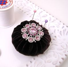 luscious velvet and vintage pin, pin cushion