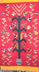 Zapotec Rug- Tree of Life Interpretation with Birds and Corn in Red Field -2'6 x 5' by Pantaleon Ruiz
