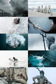 "moodyhues: "" Poseidon Aesthetic "" Poseidon, Greek god of the sea, was one of the most powerful of all of the gods in Greek mythology. He was one of the 12 Olympian gods and goddesses who held court on. Daughter Of Poseidon, Greek Gods And Goddesses, Roman Mythology, Poseidon Greek Mythology, Aesthetic Collage, Heroes Of Olympus, Character Aesthetic, Ancient Greece, Artemis"