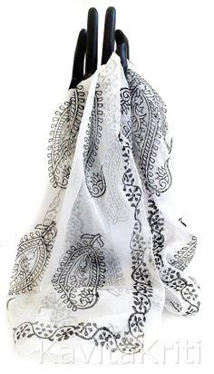 Valentines day gift. Paisley scarf. Block print scarf. Fashion scarf. Silk chiffon scarf. Hand blocked indian scarf by KavitaKriti  https://www.etsy.com/listing/175638280/valentines-day-gift-paisley-scarf-block?ref=listing-shop-header-1