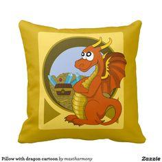 Pillow with dragon cartoon