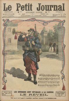 """""""Le 14 juillet au rythme du clairon"""" M. le général Picquart, ministre de la guerre, avait supprimé, en 1906, les sonneries à la caserne. Ainsi, plus de clairon pour annoncer le réveil, la soupe, l'appel ou encore l'extinction des feux.  M. Millerand rétablira les sonneries et les batteries dans les casernes afin que les tambours et clairons rythment à nouveau les phases de la journée du troupier."""