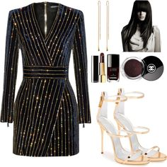 NYE by scobie-house on Polyvore featuring polyvore, moda, style, Balmain, Giuseppe Zanotti and Chanel