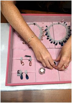 A jewelry box full of glamour at Pasquale Bruni. Beautiful pink and blue gems!