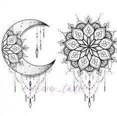 Com Mond Tattoo Designs SkillOfKing. Mandala Tattoo Design, Tatto Design, Moon Tattoo Designs, Mandala Drawing, Mandala Sun Tattoo, Sun And Moon Mandala, Moon Drawing, Dragonfly Tattoo, Mandala Flower Tattoos