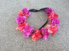 Pink and Purple Floral Headband/ Flower Crown. by DevineBlooms, $13.00