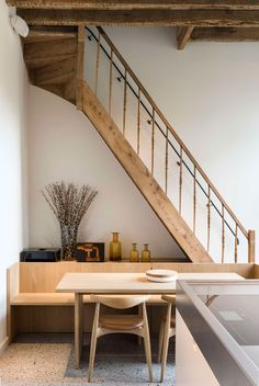 Historical Residence in Gent by Hans Verstuyft Architecten - Combining old and new - Unpainted oak stair - Wood breakfast nook built-in