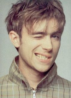 Damon Albarn back in the day....very hot.  At school we could cover exercise books with wallpaper/wrapping paper etc.  Mine were all covered with Damon.