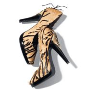 """mark Wild Streak Pumps $60 When it comes to prints, this season, it's a jungle out there. All eyes on these tiger-stripe pumps! Laced corset back. Calf hair upper, faux patent leather heel. ½"""" platform, 4 1/2"""" heel."""