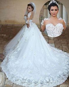 Princess Long Wedding Dress Sheer Neck Long Sleeves Ball Gown Chapel Train