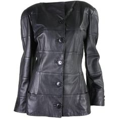 Vintage jacket from Krizia is made of buttery-soft black leather that is pieced together in wide horizontal strips. 80s Fashion, Fashion Outfits, Vintage Jacket, Fashion Boutique, 1980s, Black Leather, Real Leather, Jackets For Women, How To Wear