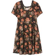 レトロフラワーニットワンピース|Auntie Rosa|steady.|ファッション通販 My Fashion(マイファッション) ($41) ❤ liked on Polyvore featuring dresses, vestidos and brown dress